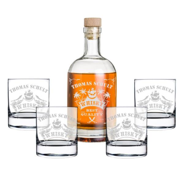 """5-tlg. Whisky Geschenkset Flasche 4x Gläser inkl. Gravur """"Piratenschiff"""""""