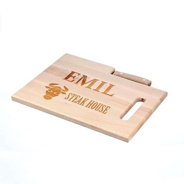 Frückstücksbrett aus Holz graviert personalisiert