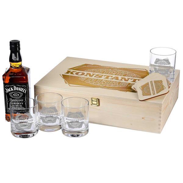 10-TLG Whiskey-Set Jack Daniels 4 Gläser, 4 Untersetzer und Whiskey-Karaffe