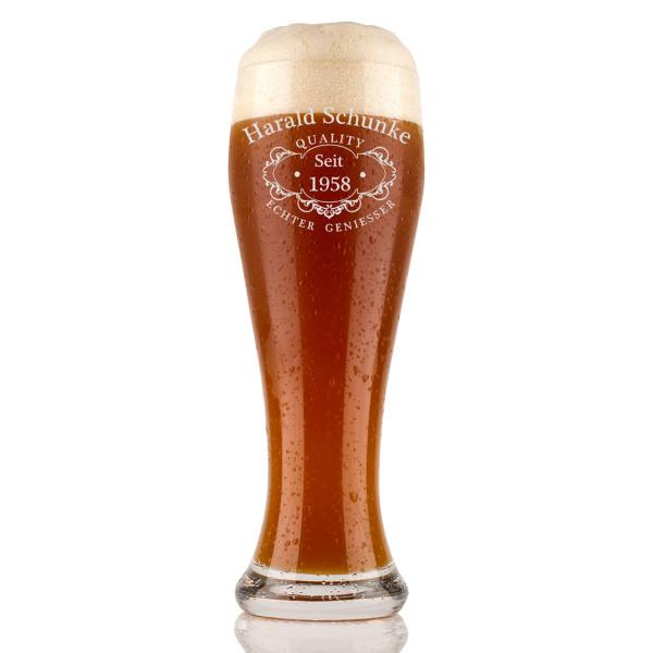 Weizenbierglas 0,5l mit Gravur personalisierte - Individuelles Weizenglas als Geburtstagsgeschenk für Männer - Geschenk-Idee - Motiv Quality
