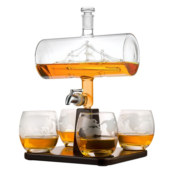 Whisky Set Karaffe 1000ml mit Segelschiff 4 Whiskygläser 320ml