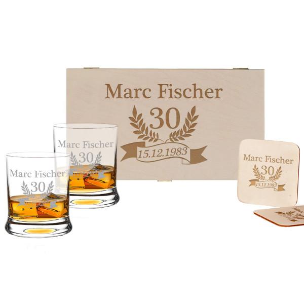 5-tlg. Whisky Geschenkset Holzbox inkl. Gravur – Jubiläum