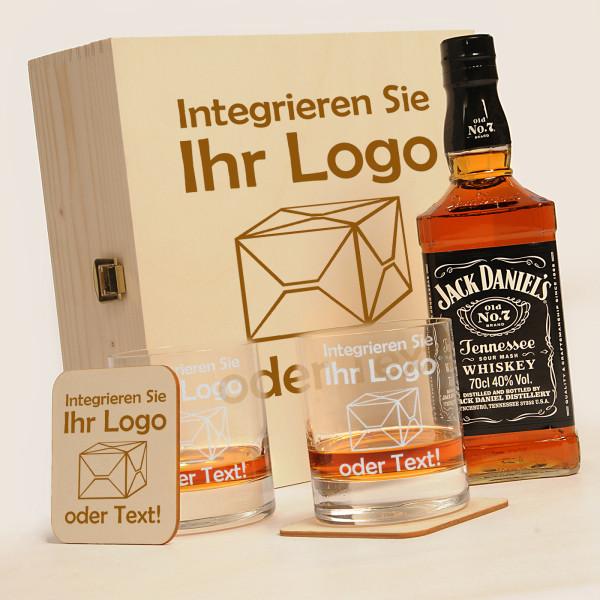 "Jack Daniels 6-tlg. Whisky Geschenkset inkl. Gravur ""eigenes Logo"""
