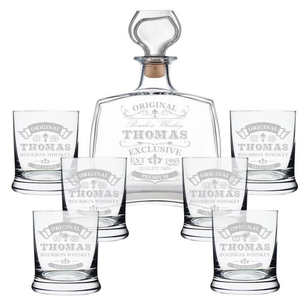 Whisky Geschenkset 7-TLG mit gravierte Gläser