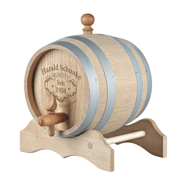 Holzfass mit Gravur Motiv Quality Whisky