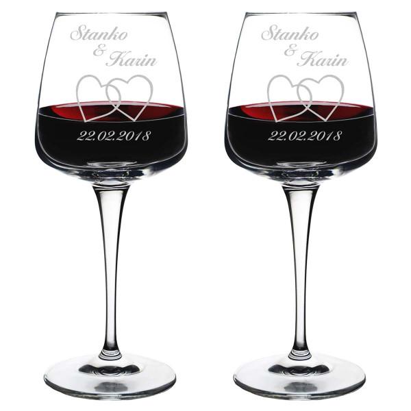 Set aus 2 Weingläser mit personalisierter Gravur