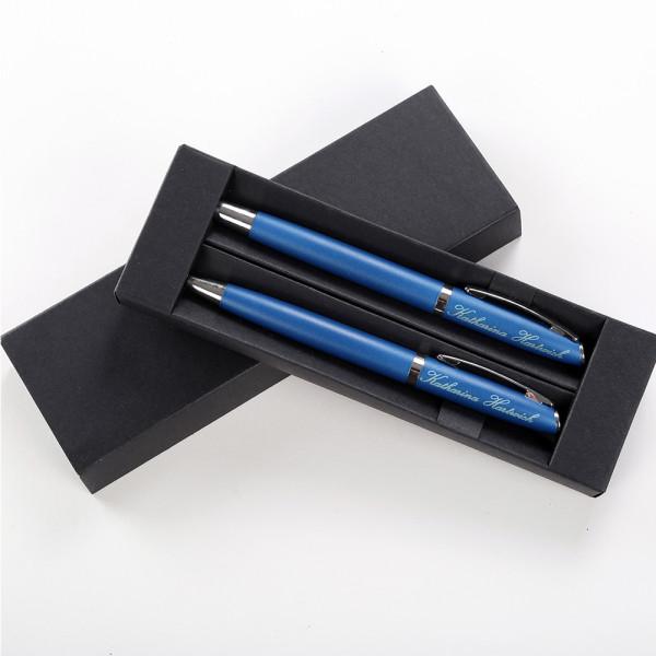 Personalisiertes Kugelschreiberset mit Wunschgravur in Blau