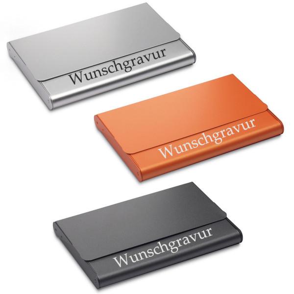 Visitenkartenetui Aluminium in schwarz/orange/silber inkl. Gravur