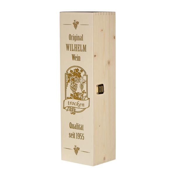 Weinkiste Holzbox inkl. Gravur Motiv Qualitätswein