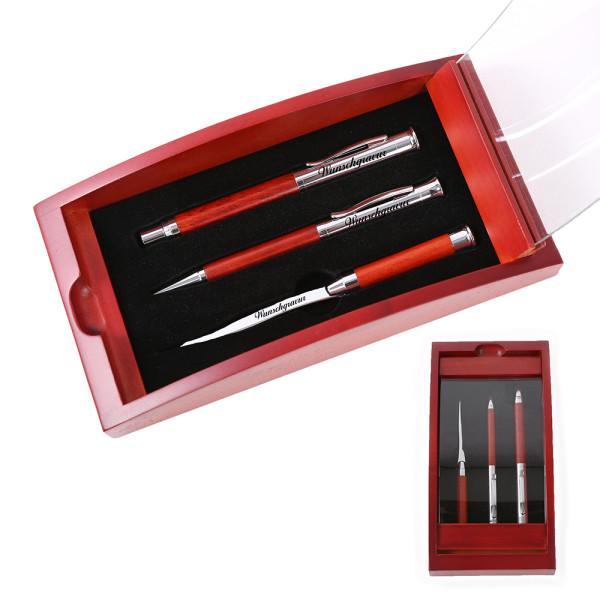 Schreibset Borkum inkl. Gravur mit Geschenkbox aus Holz / Glas