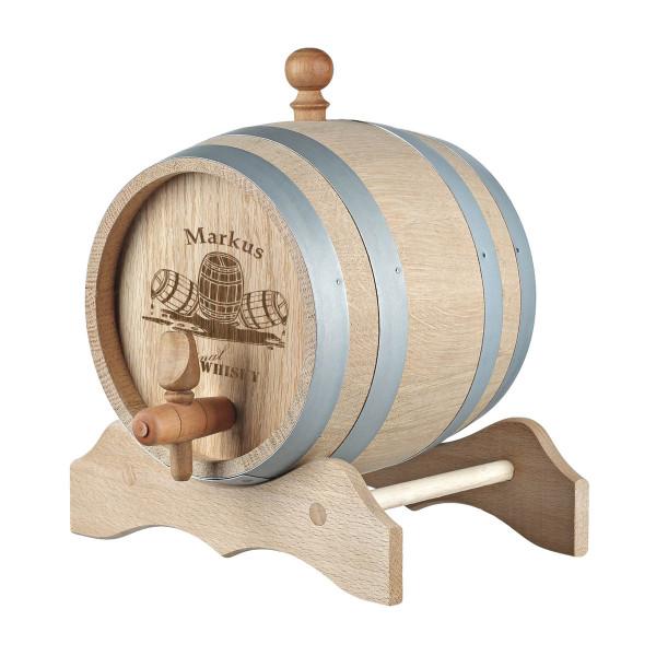 Holzfass mit Gravur Motiv Whiskyfass