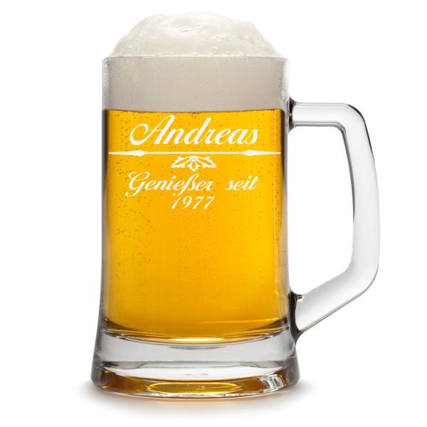 Bierkrug / Bierseidel mit Gravur