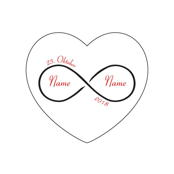 Herz Liebesschloss ROT mit 2 Seitige Gravur Motiv - unendliche Liebe