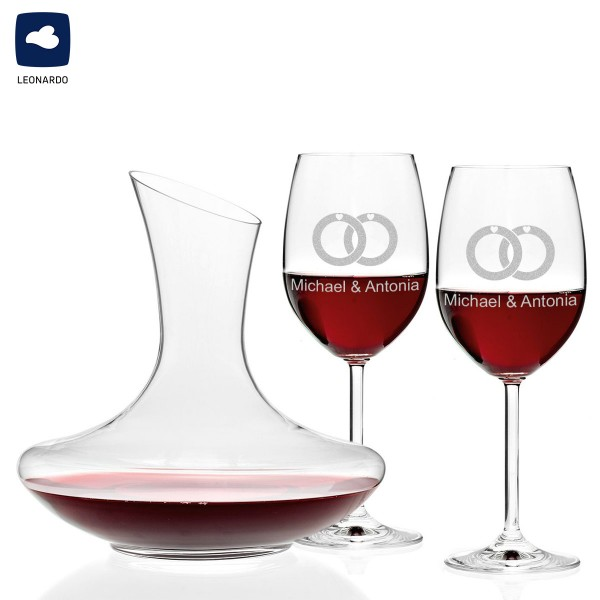 Wein-Dekanter mit personalisierte Weingläser graviert