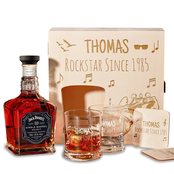 6-tlg. Jack Daniel's Whisky Geschenk-Set Holzkiste inkl. Gravur – Rockstar