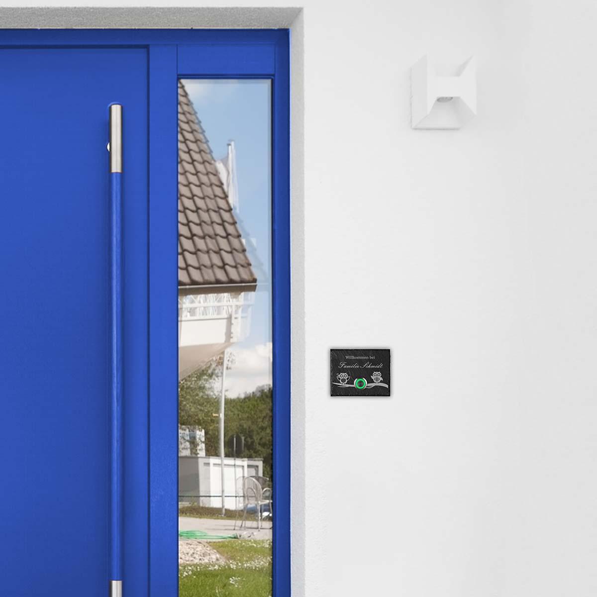 Gravur Motiv Familienname LED Türklingel aus Schiefer Model Elster inkl