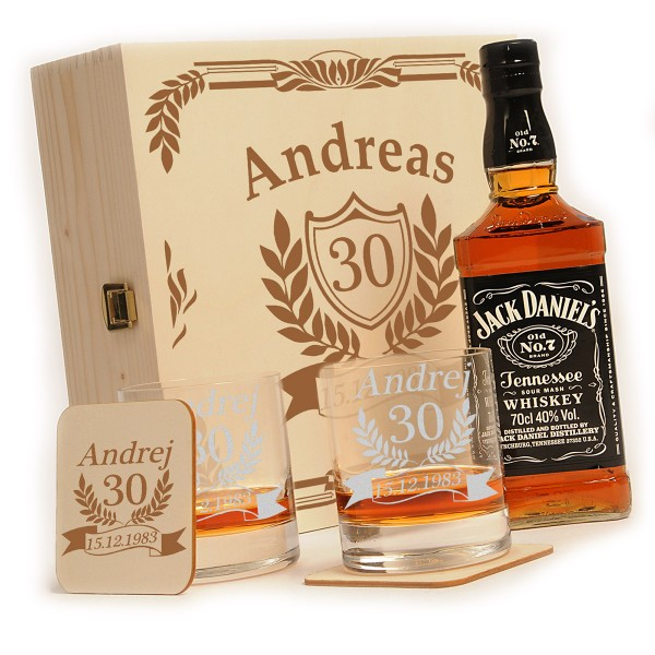 Jack Daniels 6-tlg. Whisky Geschenkset inkl. Gravur Jubiläum