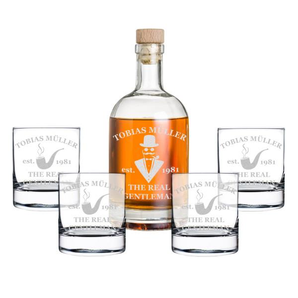 5-tlg. Whisky Geschenkset Flasche 4x Gläser mit Gravur