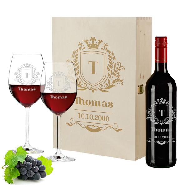 Personalisiertes Geschenkset Wein mit Holzkiste, gravierte Gläser und Flasche