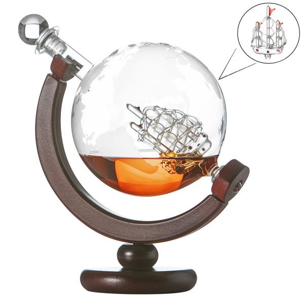 Globus Whiskykaraffe Globus Segelschiff mit gravierter Weltkarte