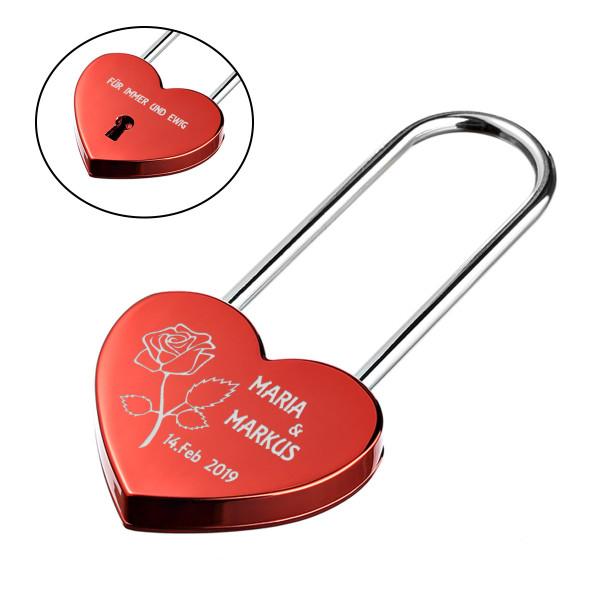 Herz Liebesschloss ROT mit 2 Seitige Gravur Motiv - eine Rose der Liebe