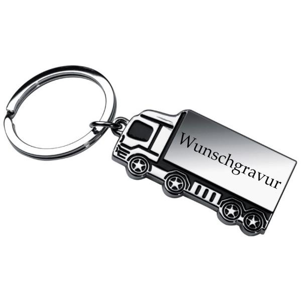 Schlüsselanhänger LKW aus Metall inkl. Gravur