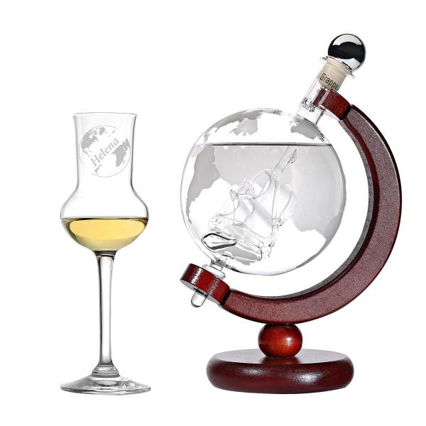2-teiliges Globus Grappa-Set inkl. Gravur Motiv Globus