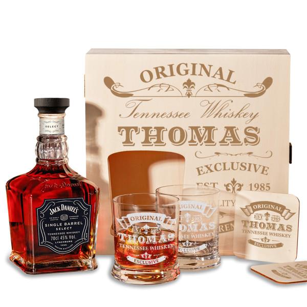 Whiskyset personalisiert mit Jack Daniels und Holzkiste