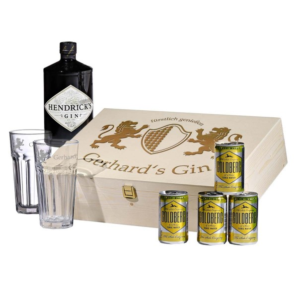 8-teiliges Gin-Tonic-Set inkl. Gravur Motiv fürstlich genießen