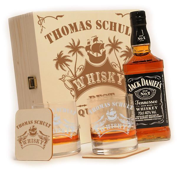 "Jack Daniels 6-tlg. Whisky Geschenkset inkl. Gravur ""Piratenschiff"""