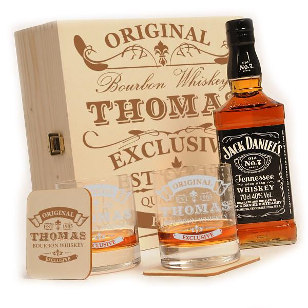 Jack Daniels 6-tlg. Whiskey Geschenkset mit personalisierter Gravur