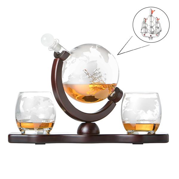 Whiskyset Glas-Karaffe Globus Segelschiff mit gravierter Weltkarte, 2 Whiskygläser und Holz-Tablett