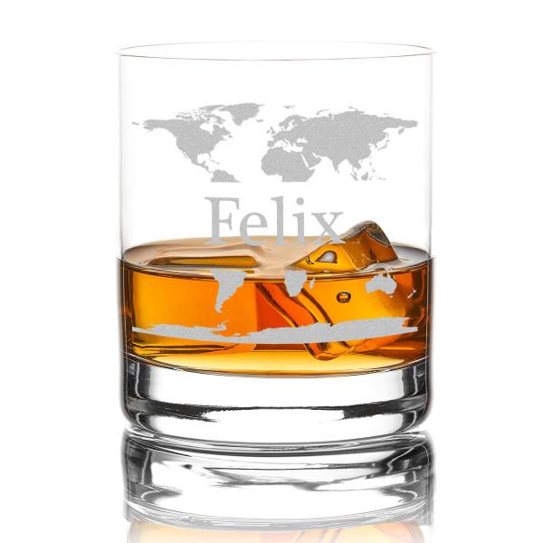 Whiskyglas mit Namens Gravur und Weltkarte