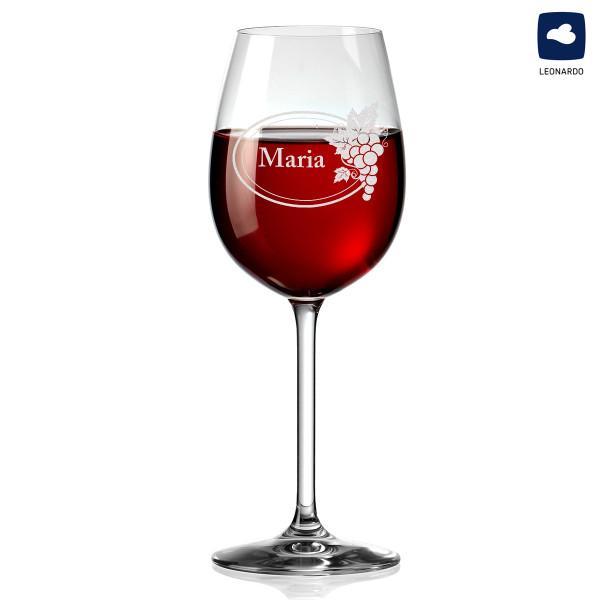 Weinglas mit personalisierter Gravur