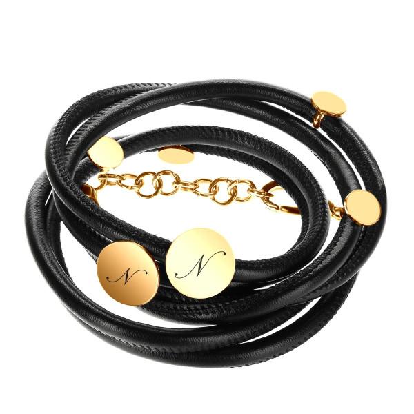Elegantes Leder Wickelarmband schwarz-gold mit Geschenketui inkl. Gravur