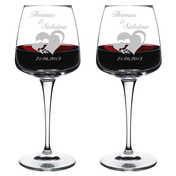 """zwei Weingläser inkl. Motivgravur """"viele Herzen in einander"""""""