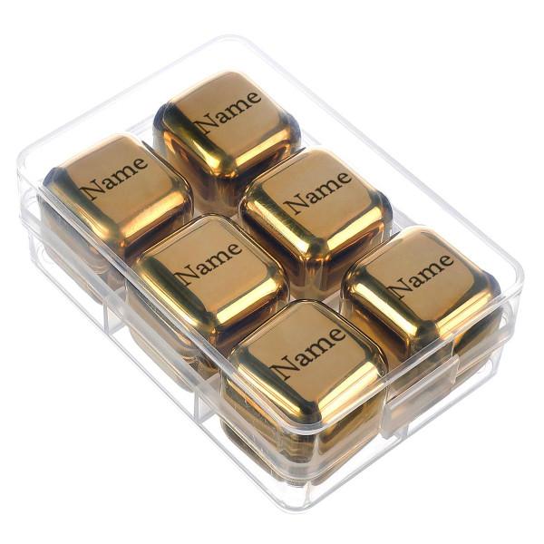 edle 6 Edelstahl Whisky Steine Eiswürfel Farbe GOLD mit Namens Gravur