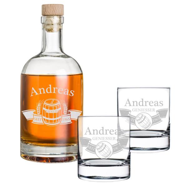 3-tlg. Whisky Geschenkset Flasche 2x Gläser inkl. Gravur Fass im Banner