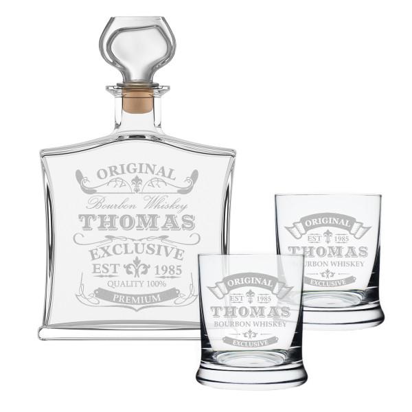 """3-tlg. Whisky Geschenkset Flasche 2x Gläser inkl. Gravur """"Original-Exklusive"""""""