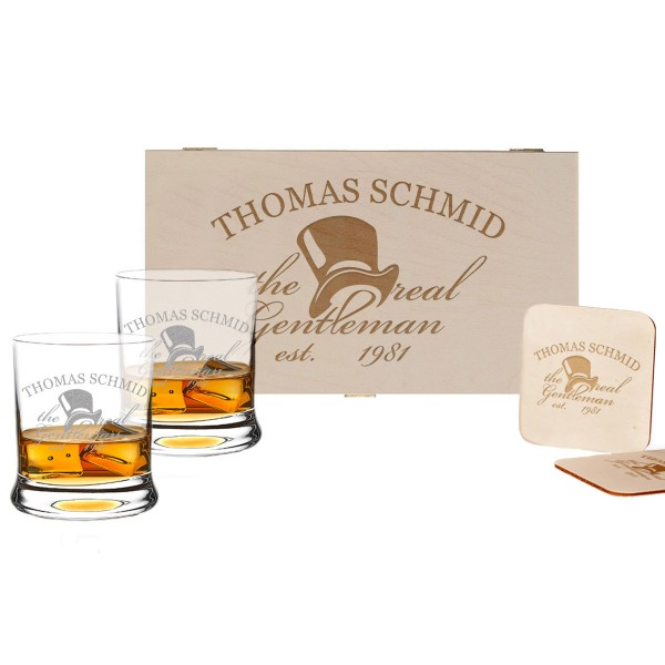 5-tlg. Whisky Geschenkset Holzbox inkl. Gravur – a Gentleman