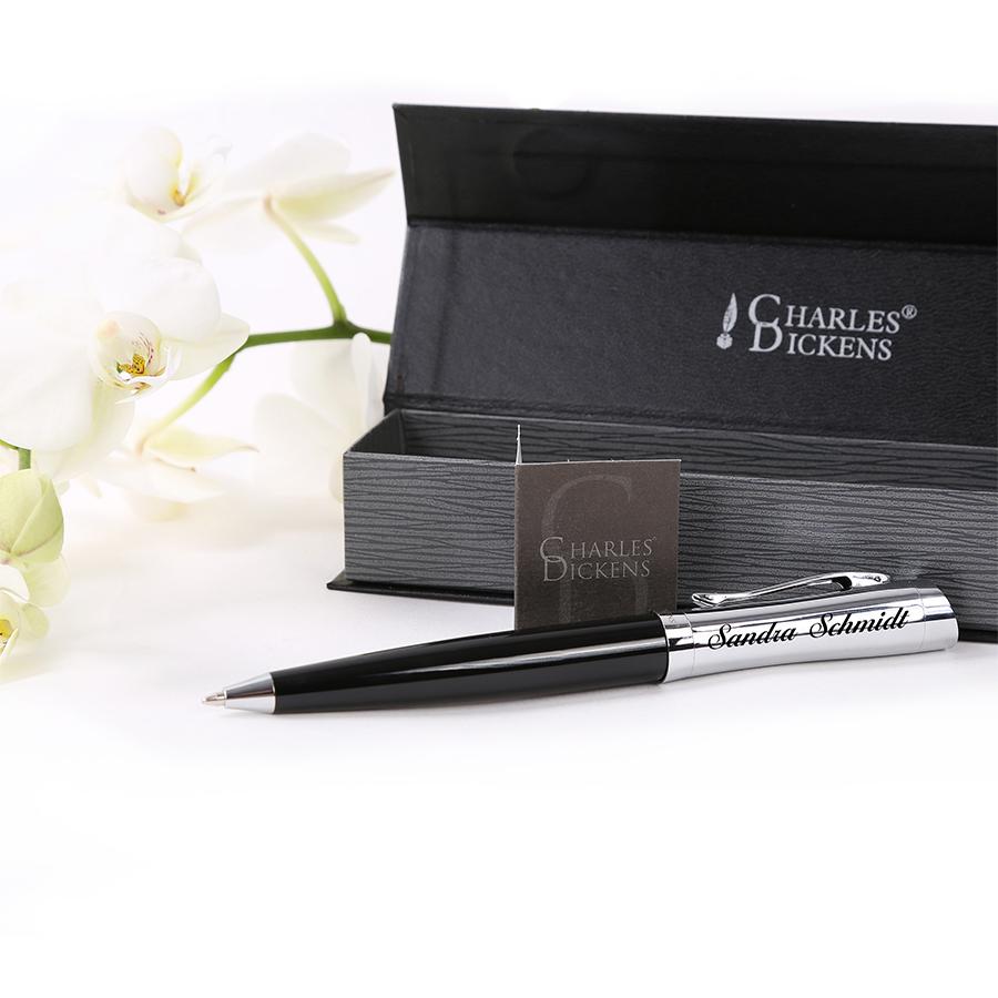 Box Charles Dickens Battle Kugelschreiber Farbe Schwarz Metall Mit GRAVUR
