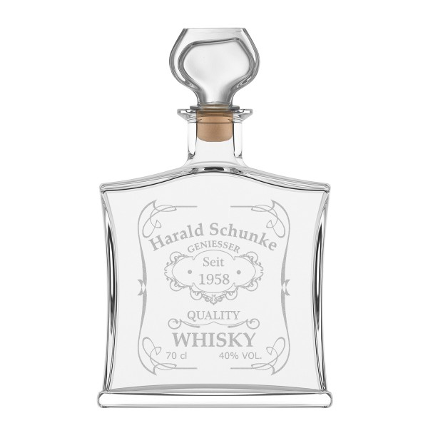 """Edle Whiskyflasche inkl. Gravur - Motiv - """"Quality Whisky"""""""