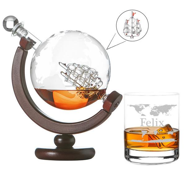 Whiskykaraffe Globus 850ml 1 Whiskyglas mit Gravur