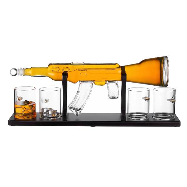 Geschenkset Whisky Dekanter Gewehr mit 4 Kugel Gläser