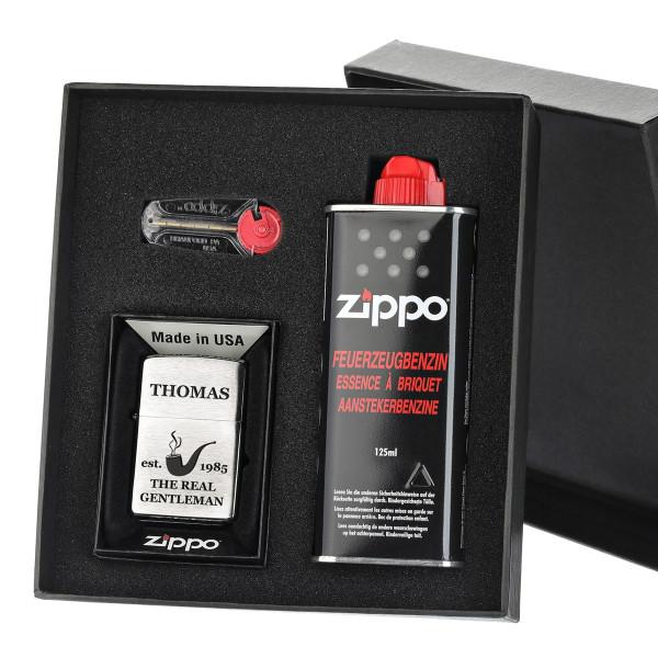 3-tlg. Zippo Sturmfeuerzeug-Geschenkset inkl. Gravur Motiv Real Gentleman