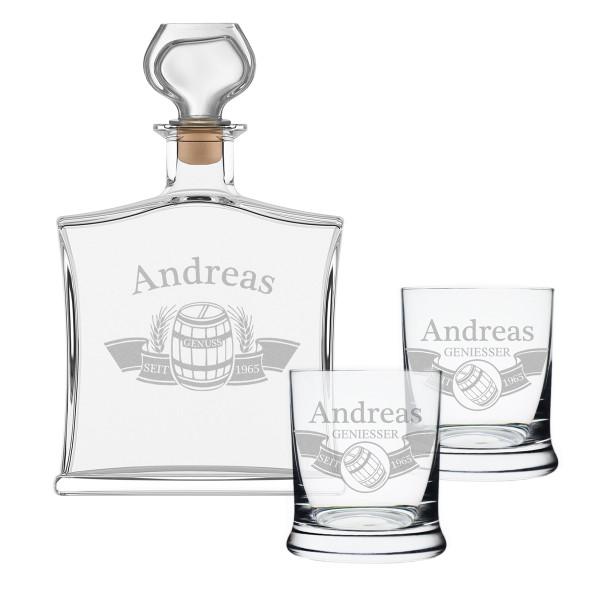 "3-tlg. Whisky Geschenkset Flasche 2x Gläser inkl. Gravur ""Fass im Banner"""