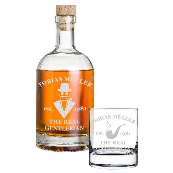 2-tlg. Whisky Geschenkset Flasche 1x Glas mit Wunschgravur