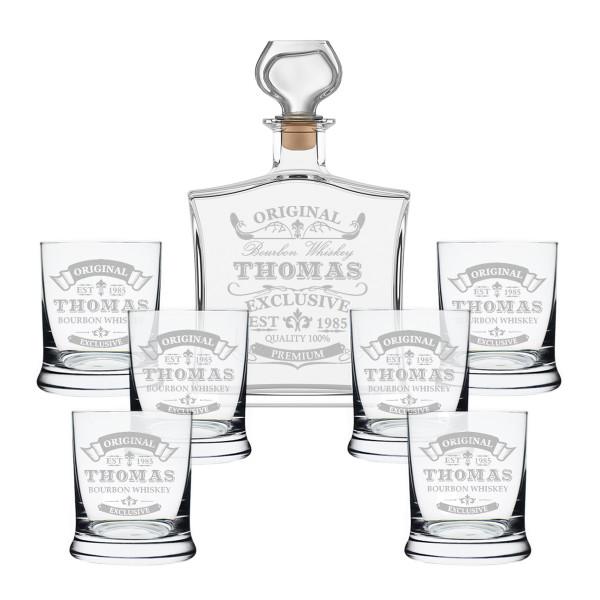 """7-tlg. Whisky Geschenkset Flasche 6x Gläser inkl. Gravur """"Original-Exklusive"""""""