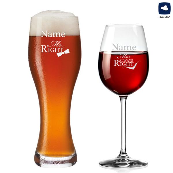 Weizenglas und Weinglas mit Gravur - Mr. & Mrs. Always Right