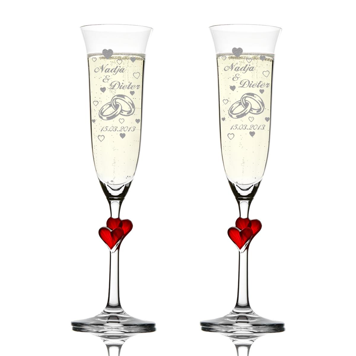 Weingläser Motiv verliebtes Paar romantisch Gläser polar-effekt 2 Weingläser mit Gravur mit Namen und Datum schöne Geschenk-Idee zur Hochzeit